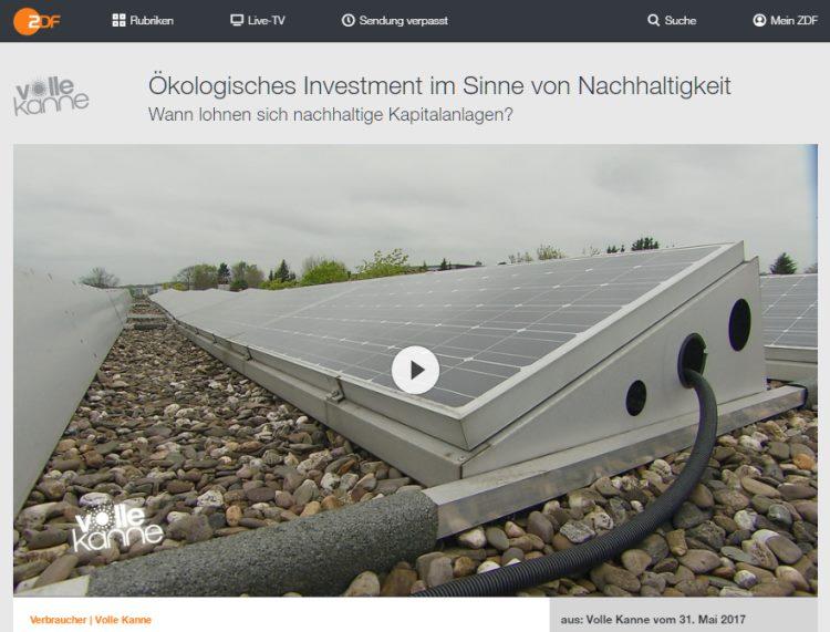 Ökologisches Investment im Sinne von Nachhaltigkeit - ZDF - Verbraucher | Volle Kanne