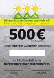 Geschenkgutschein für ein Energiegenossenschaftsanteil der BEG 58 über 500€