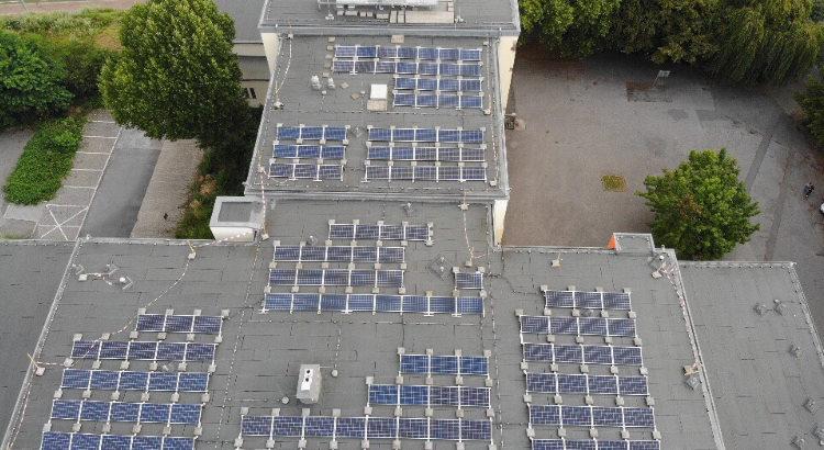 Drohnenfoto von Borowski der Solaranlage der Bürgerenergiegenossenschaft 58 in Bochum