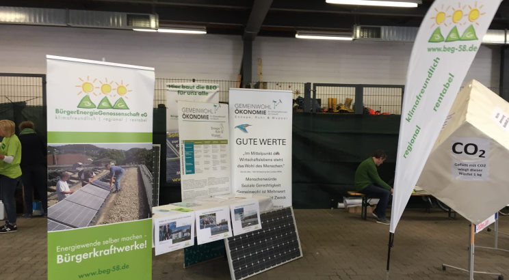 Der Stand der Bürgerenergiegenossenschaft auf dem Umweltmarkt in Wettre (Ruhr) im September 2019