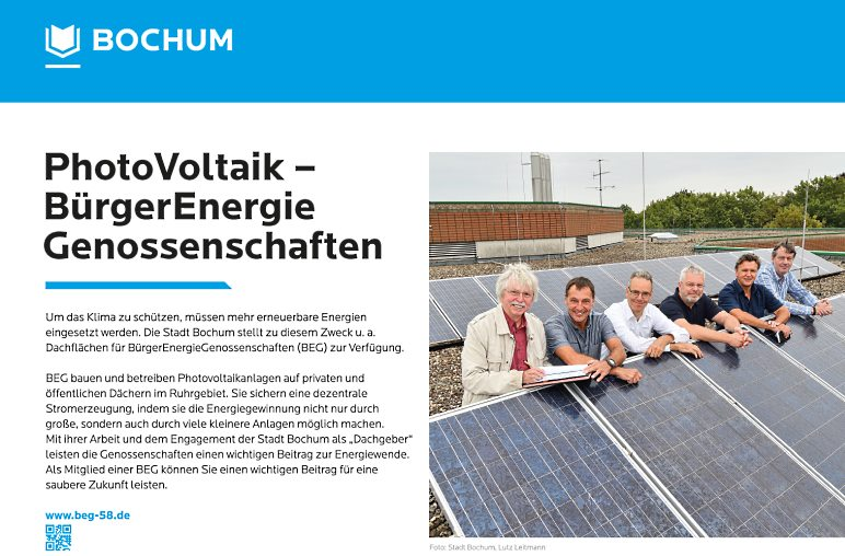 Plakat der Stadt Bochum über die BEG-58 (Bürgerenergiegenossenschaft)